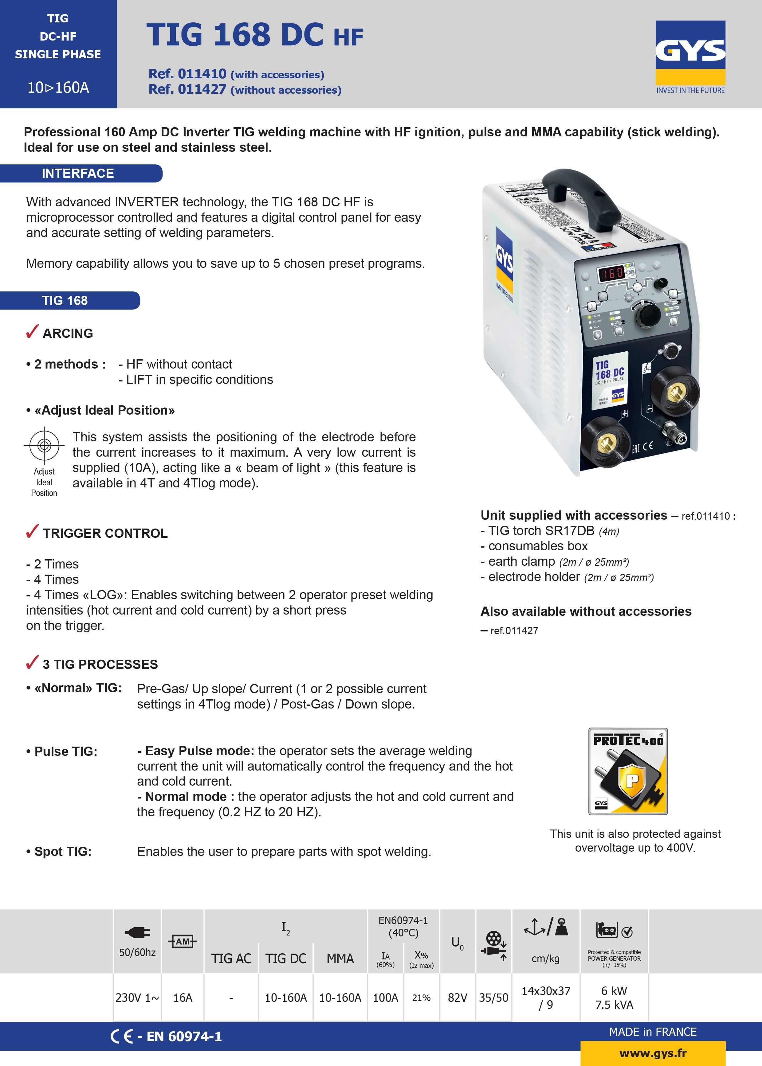 TIG 168 DC Datasheet