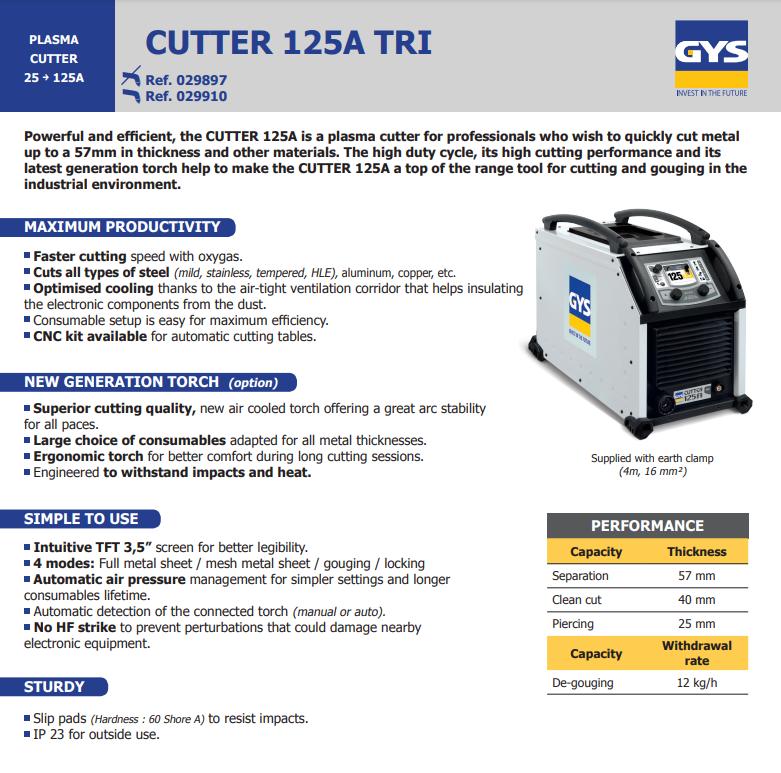 Plasma Cutter 125A TRI 400V