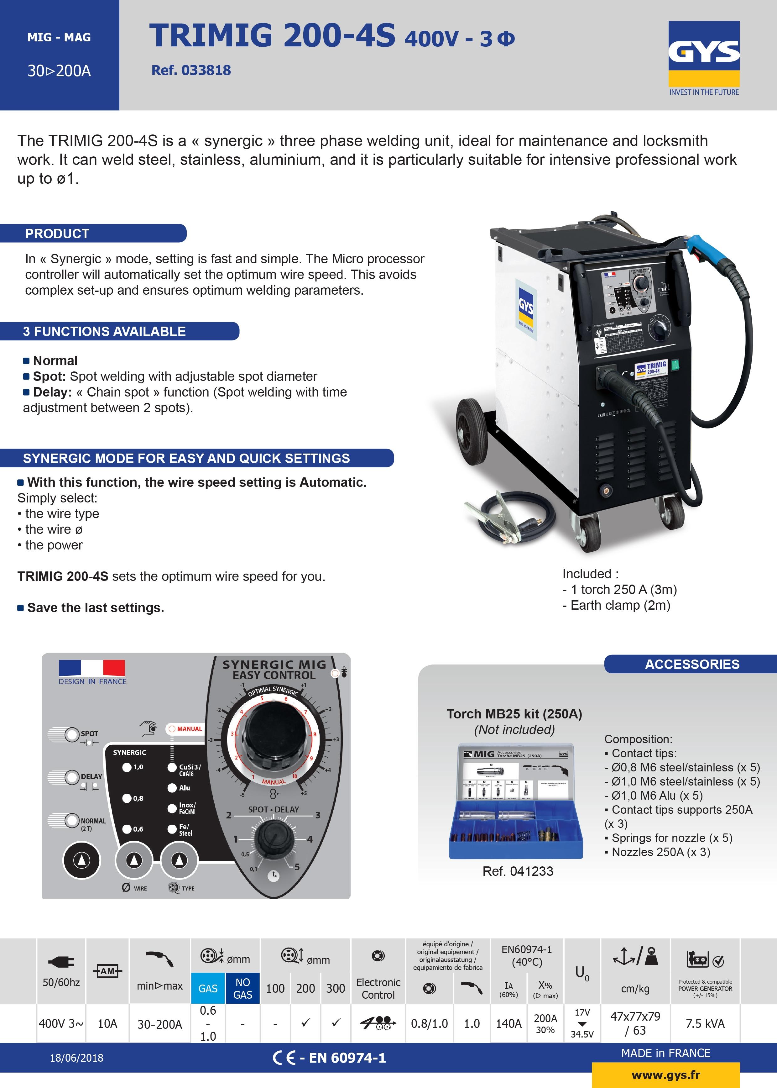 Trimig 200-4S Datasheet