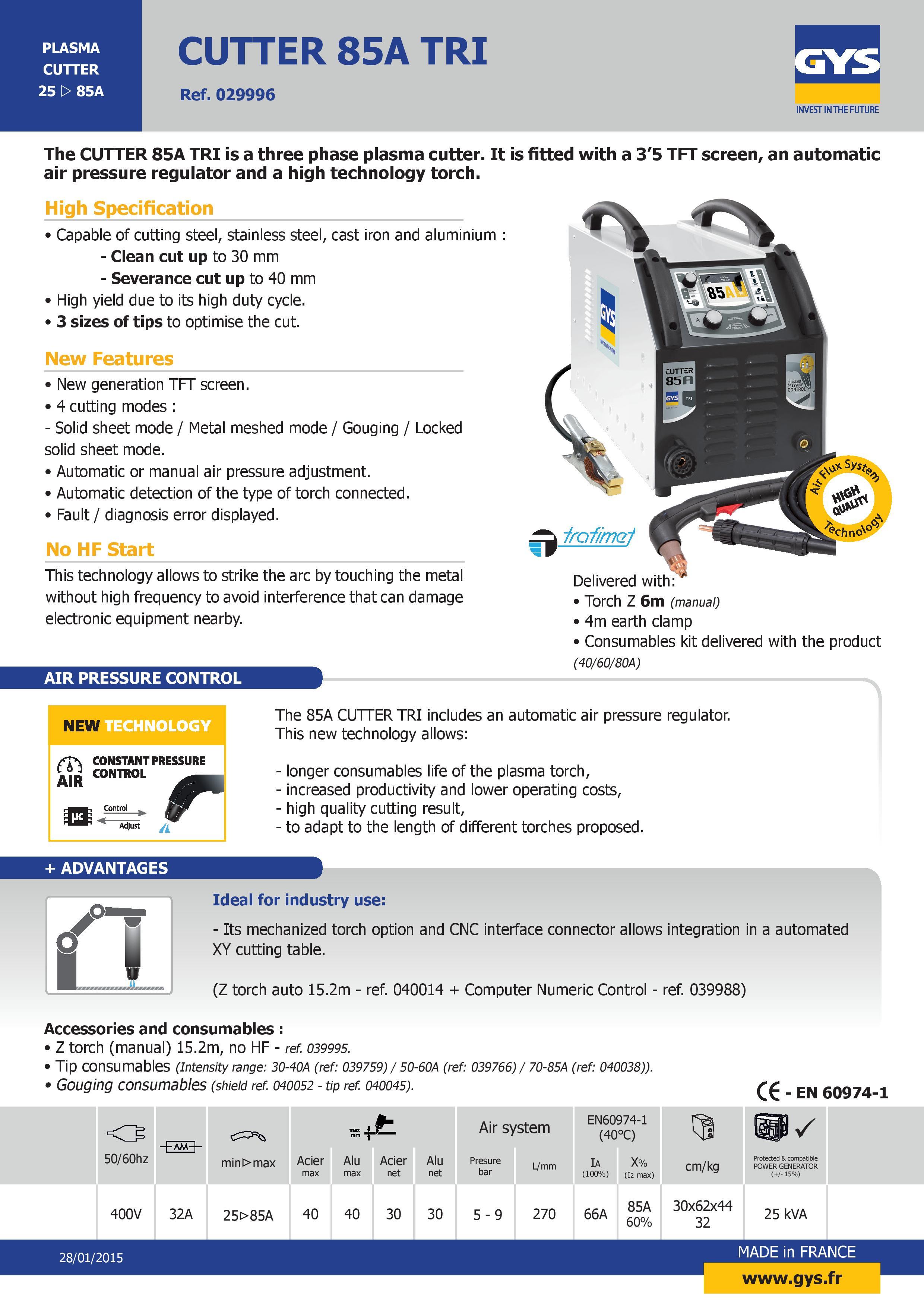 Plasma Cutter 85A TRI 400V 3~